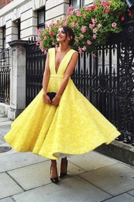 V-neck Homecoming Dress, Cute Yellow Tea Length Lace Prom Dress2017 - Ombreprom - Zaręczyny