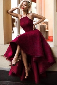 Burgundy A Line Asymmetrical Halter Sleeveless Long Prom Dress - Ombreprom - Zaręczyny