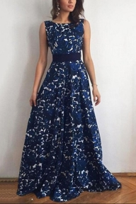 Blue A Line Brush Train Sleeveless Deep V Neck Prom Dress,Party Dress - Ombreprom - Zaręczyny