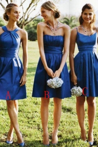 Shop A-Line Sleeveless Satin Knee-Length Bridesmaid Dresses On Sale - Ombreprom - Dekoracje sali