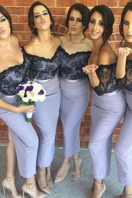 Shop Mermaid Off-the-Shoulder Ankle-Length Bridesmaid Dresses On Sale - Ombreprom - Dekoracje sali