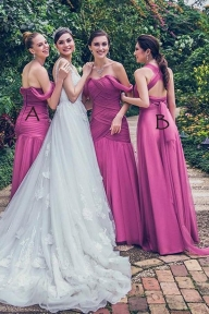 A Line Floor Length Sweetheart Sleeveless Layers Bridesmaid Dress - Ombreprom - Zabawa