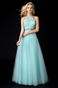 Cheap Light Green Two piece Tulle Halter Open back Party,Prom Dress - Ombreprom - Buty ślubne damskie