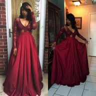 A Line Floor Length V Neck Long Sleeve Lace Plus Size Prom Dresses - Ombreprom - Dodatki damskie