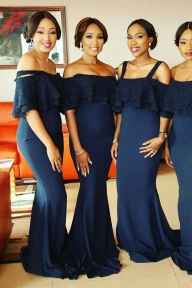 Navy Blue Sheath Brush Train Off Shoulder Appliques Bridesmaid Dress - Ombreprom - Dekoracje sali