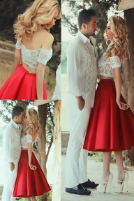 Red Off-Shoulder Two Piece White Lace Short Prom Dresses, Tea-Length Homecoming Dress M319 - Ombreprom - Garnitury