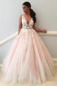 Pink A Line Floor Length Deep V Neck Sleeveless Appliques Wedding Dress - Ombreprom - Galanteria papiernicza