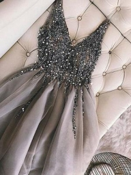 Sequins Beaded V-neck Tulle Short Prom Dresses, Party Dresses, OP203 – ombreprom.co.uk - Buty ślubne damskie