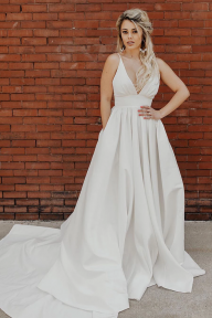 Simple Pleated Deep V White Wedding Dress With Train  Dress link:https://bit.ly/39MFU6F  10% OFF FOR YOUR FIRST ORDER CODE: RJSGIRL - Sukienki na wesele