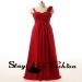 Red Pleated Bust Rosette One Strap Long Chiffon Prom Graduation Dress [sc839] - $175.00 : Tailor-made Prom Dresses Sale, Womens Formal Dresses Online