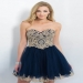 Midnight Navy Gold Strapless Embroidered Bodice Short Homecoming Dress [Blush 10067 Midnight Navy/Gold] - $210.00 : Cheap Prom Dresses Sale, Affordable Homecoming Dresses For Girls
