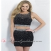 Sparkly Beaded Blush C303 Black Two Piece Sleeveless Two Piece Cutout Prom Dress