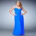 Ruched Bodice Blue Stretch Evening Gown by La Femme 22068 [la femme 22068 blue] - $139.00 : Hot Sale Prom Dresses