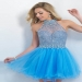 Glittery Beaded Halter Neckline Cornflower Short Blush 10060 Homecoming Dress [Blush 10060] - $230.00 : Cheap Prom Dresses Sale, Affordable Homecoming Dresses For Girls