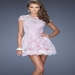 Short Sleeves Pink Lace Round Neck Prom Dresses [short pink prom dresses] - $182.00 : www.2014dressesforprom.us