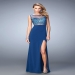 Blue Glitzy Bodice Keyhole Open Back Prom Dress Cheap 2016 Sale [la femme 21583 blue] - $187.00 : www.dressesforprom2015.com