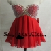 Rhinestones Crisscross Jeweled Top Red Short A Line Chiffon Short Prom Dress 2016 [sc974] - $185.00 : Tailor-made Prom Dresses Sale, Womens Formal Dresses Online