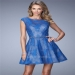 Short Electric Blue La Femme 21949 Vibrant Stone Beaded Belt Dress [La Femme 21949 Electric Blue] - $195.00 : Prom Dresses 2014 Sale, 70% off Dresses for Prom
