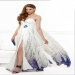 White Long Sexy Broder Print High Split Prom Dress [Print High Split Prom Dress] - $183.00 : www.2014dresstrends.com
