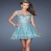 Aqua Sheer Straps V Neck Sequined Placed Cocktail Dress 2015 [La Femme 19283 Aqua Cocktail Dress] - $207.00 : Homecoming Dresses Outlet,Prom Dresses 2015,veryhomecomingdresses2016.com
