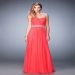 Vibrant Jeweled Pearl Watermelon Strapless Prom Dress [la femme 22786 watermelon] - $189.00 : Hot Sale Prom Dresses