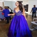 Royal V Neck Lace Appliqued Top A Line Satin Ball Gown - $178.00