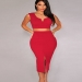 Red Two Piece V Neck Slit Bodycon Club Party Dress Sale [160202] - $125.00 : Cheap Bandage Dresses Online, Sexy Bodycon Club Dress 2016