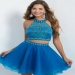 Heavily Beaded Bodice Ocean High Neck Tulle Skrit Two Piece Dress For Party [In-89 Ocean] - $199.00 : Prom Dresses, Homecoming Dresses, Formal Dresses Outlet � EveryProm