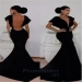 Elegant Black Open Back V Neck Mermaid Fitted Gown - $165.00