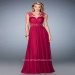 High Fashion Cranberry Lace Accented Sheer Cap Sleeve Dress [la femme 21921 cranberry] - $219.00 : www.2014dresstrends.us