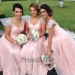 Jeweled Cap Sleeves Pink Pleated Chiffon Bridesmaid Dress - $160.00