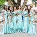 Blue Off Shoulder Neck Beaded Empire Waist Bridesmaid Dress - $135.00