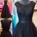 Black Beaded Top Cap Sleeves A Line Prom Gown - $188.00