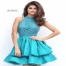 Sherri Hill 50711 Teal Short Beaded Layered A Line Prom Dress [Sherri Hill 50711 Teal] - $195.00 : 2016 Sherri Hill Prom Dresses Cheap Sale online.Big Discount Price Sherri Hill