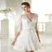 Short A-Line Half Sleeves Deep V-neck Buttons Back Little White Wedding Dresses Black Friday