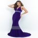 Sheath Sweep Train Deep V-neck Beaded Crossed Straps Back Jersey Prom Dress