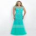 Sheath Scoop Neck Floor-length Tulle Prom Dress With Beaded Appliqued