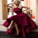 Burgundy A Line Asymmetrical Halter Sleeveless Long Prom Dress - Ombreprom