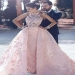 Pink A Line Court Train Halter Sleeveless Lace Appliques Long Prom Dress - Ombreprom