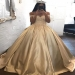 Golden Ball Gown Sweep Train Off Shoulder Appliques Long Prom Dress - Ombreprom