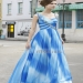 Spaghetti Straps Ombre Blue Pleated Sleeveless Formal Gowns 80352