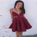 Elegant Red Stain V Neck Sleeveless Short Homecoming Dress M443 - Ombreprom