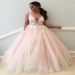 Pink A Line Floor Length Deep V Neck Sleeveless Appliques Wedding Dress - Ombreprom