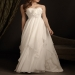 Buy discount Flowing Chiffon A-line Strapless Neckline Wedding Dress With Handmade Flowers,Feathers and Tiny Buttons